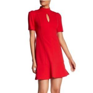 Donna Morgan Short Sleeve Crepe Dress Red Sz 10